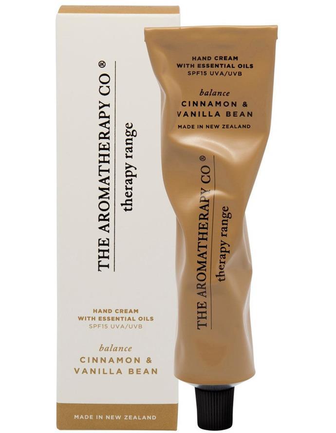 "The Aromatherapy Company hand cream in Cinnamon & Vanilla Bean, $19.95, [Myer](https://www.myer.com.au/p/the-aromatherapy-company-therapy-hand-cream-balance-cinnamon-vanilla-bean|target=""_blank""|rel=""nofollow"")"