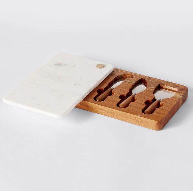 "Wood & Marble cheese board set, $30, [Target](https://www.target.com.au/p/wood-marble-cheese-board-set/62605021|target=""_blank""|rel=""nofollow"")"