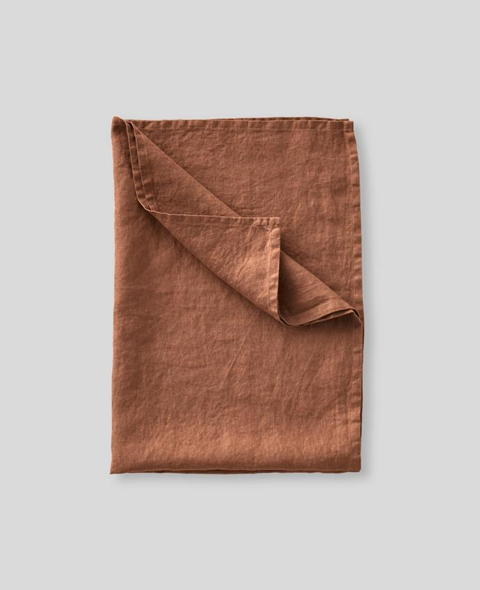 "100% Linen Tea Towel in Toffee, $22, [In Bed](https://inbedstore.com/collections/tea-towels/products/100-linen-tea-towel-in-toffee|target=""_blank""