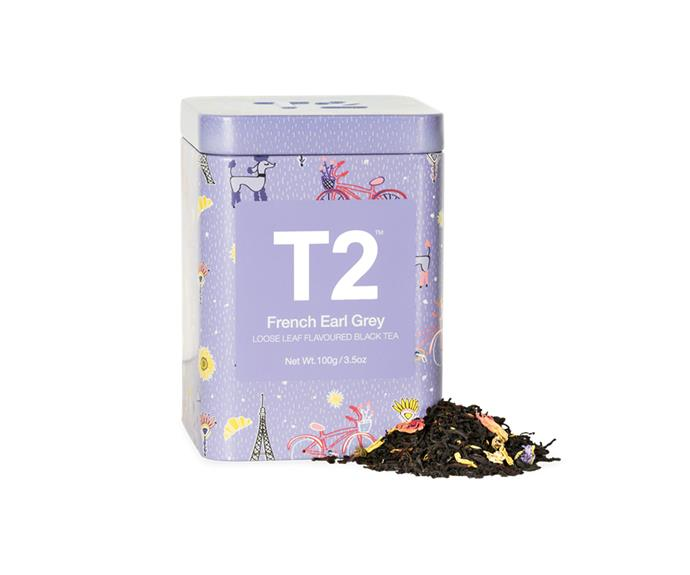 "French Earl Grey Feature Tin, $22/100g, [T2](https://www.t2tea.com/en/au/tea/french-earl-grey-100g-feature-tin-T125AI104.html|target=""_blank""
