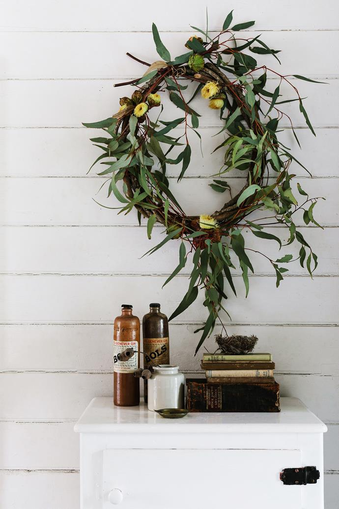 The wreath is by Floral Ink, and the vintage finds were found in NSW's Blue Mountains.