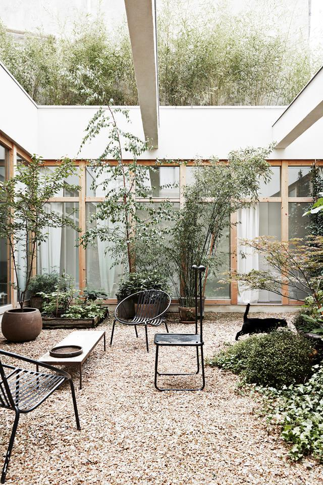 "This [courtyard space](https://www.homestolove.com.au/warehouse-conversion-20642|target=""_blank"") is blissfully low-maintenance. The furniture is simple and sturdy, large trees are contained in planters and the ground is covered in woodchips, ideal for high-traffic outdoor areas."