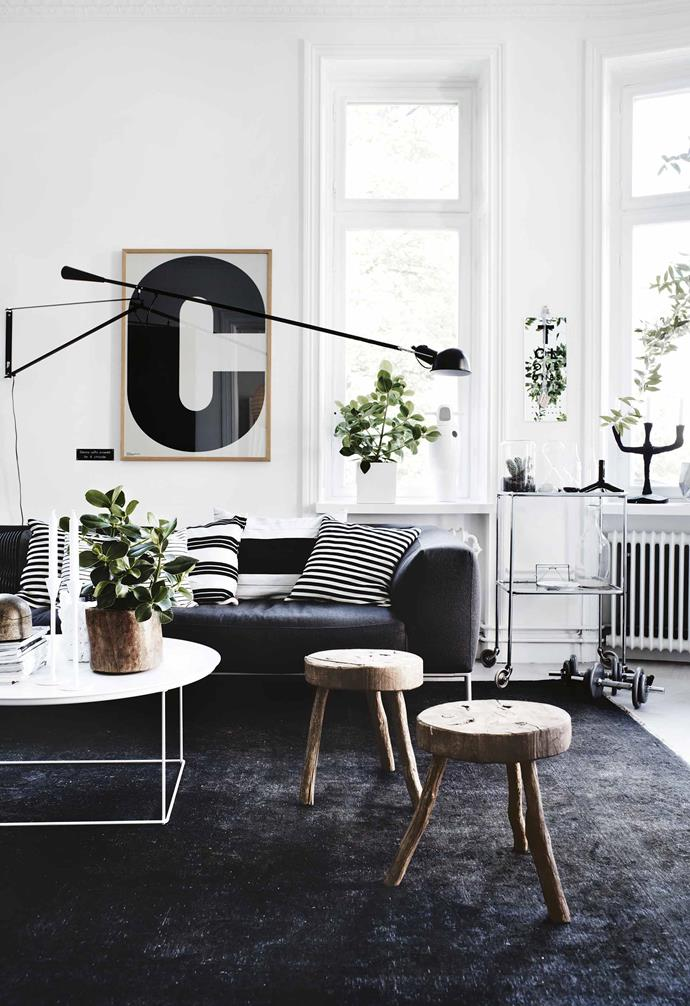"True collaboration between a home's owner and its designer almost always leads to great results, so when the owners of this Stockholm apartment - one of Sweden's leading stylists and her architect partner – are also the designers, all the signs point to a successful renovation.<br><br>**Living area** A refined [black-and-white scheme](https://www.homestolove.com.au/monochrome-living-rooms-17205|target=""_blank"") is expertly softened with a mix of textures by stylist and owner Lotta Agaton. Nature plays a part, too, with rustic timber stools and greenery providing fresh appeal and interest. Artwork from [Playtype](https://playtype.com/