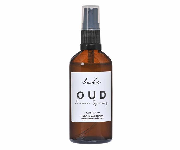 """Oud room spray, $33, from [Babe Australia](https://local.babeaustralia.com/collections/room-sprays/products/oud-room-spray