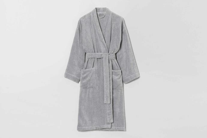 "Quick dry luxury bathrobe, $139.95, [Sheridan](https://www.sheridan.com.au/quick-dry-luxury-unisex-bathrobe-sf12-b115-c243-791-sterling.html|target=""_blank""|rel=""nofollow"")."