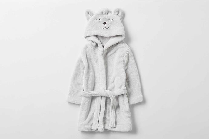 "Hugsie baby bathrobe, $69.95, [Sheridan](https://www.sheridan.com.au/hugsie-baby-bathrobe-st01-b950-c955-519-platinum.html|target=""_blank""|rel=""nofollow"")."