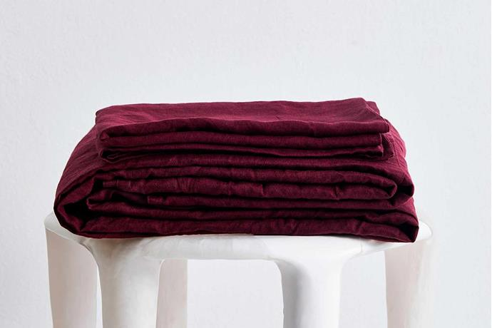 """100% flax linen sheet set, $260-340, [Bed Threads](https://bedthreads.com.au/collections/new-in-1/products/ruby-100-flax-linen-sheet-set?variant=31163314929711