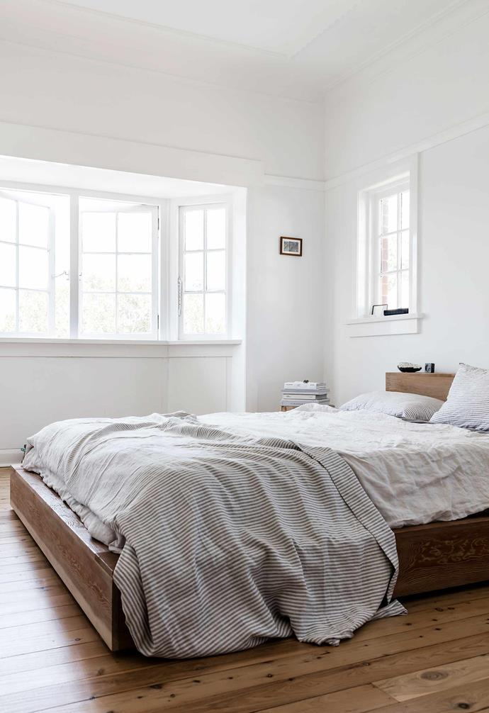 """**Main bedroom** Pride of place goes to a Platform oregon timber bed by [Mark Tuckey](https://www.marktuckey.com.au/