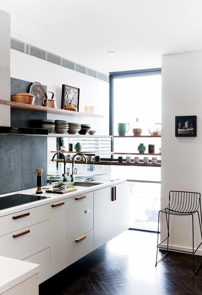 "This allowed Fiona to incorporate the second bedroom into a self-contained studio for Marlo. ""It is an ideal future situation for us, as our daughter will have a place of her own within the 'compound' while still being able to feel independent,"" says Fiona.<br><br>**Kitchen** Now larger and light-drenched, the repositioned kitchen was designed by Fiona and made by [Artifex Interiors](http://artifex.com.au/