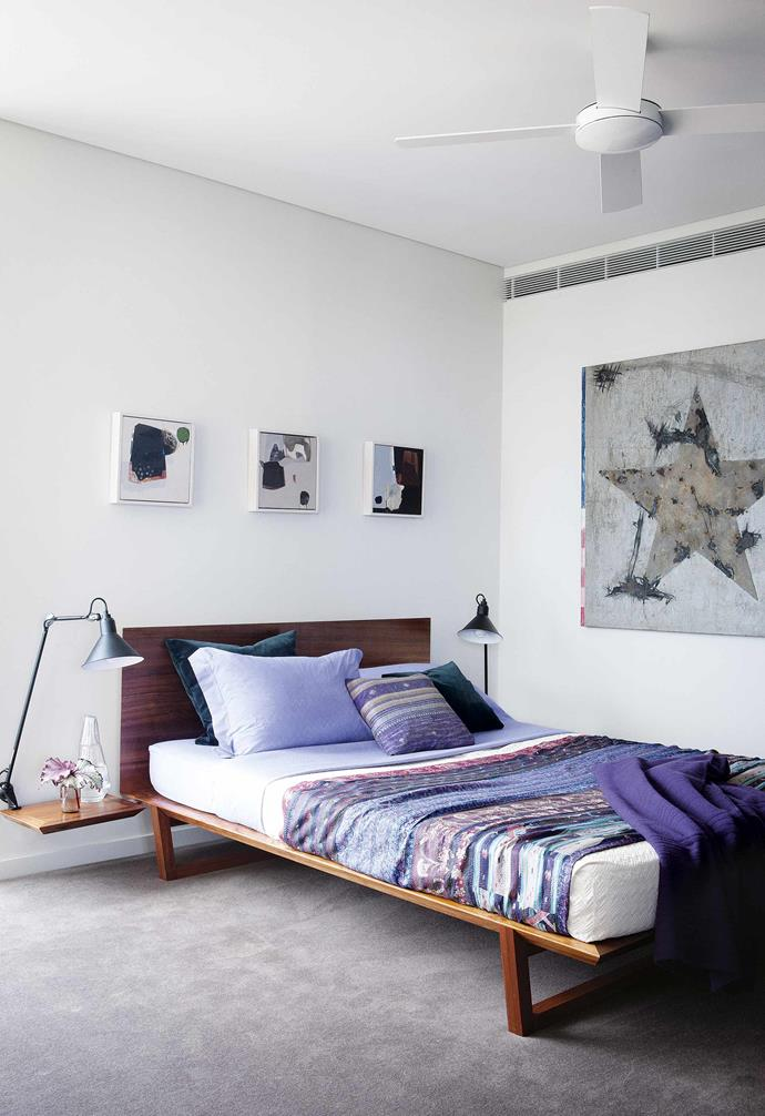 """I have some significant investments in the apartment, but the reality is that you don't want to be hysterical when guests prowl around with a glass of red wine in their hands and lose it all over the carpet,"" says Fiona. ""It's just not worth it – life is for living.""<br><br>**Bedroom** The 'Fineline' bed is Fiona's design. After loving it in her own home, she introduced it as a stock item at [Spence & Lyda](https://spenceandlyda.com.au/