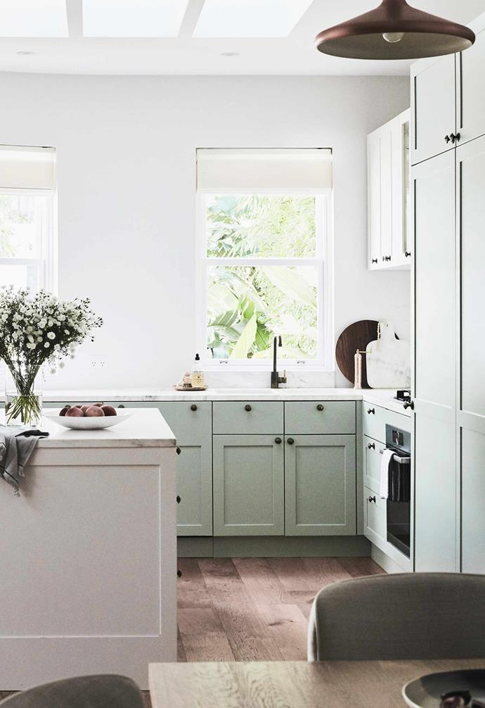 """**Kitchen** The fridge and freezer are stored behind the tall doors. Marble breadboard and copper pepper grinder, [The DEA Store](https://thedeastore.com/ target=""""_blank"""" rel=""""nofollow"""")."""