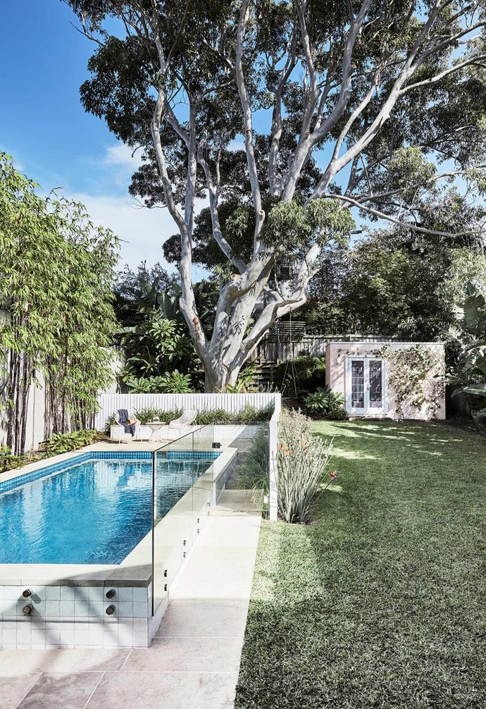 **Pool** The pool sits in front of the family's beloved gum tree. Beneath it is a pretty vine- covered shed with French doors.