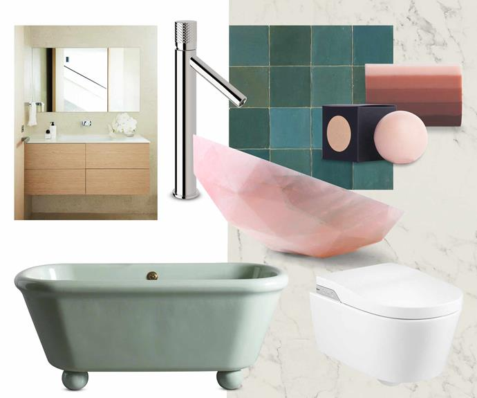"**Get the look** (clockwise from left) Dekton vanity top in Halo and wall surface in Blanc Concrete, [Cosentino](https://www.cosentino.com/en-au/|target=""_blank""