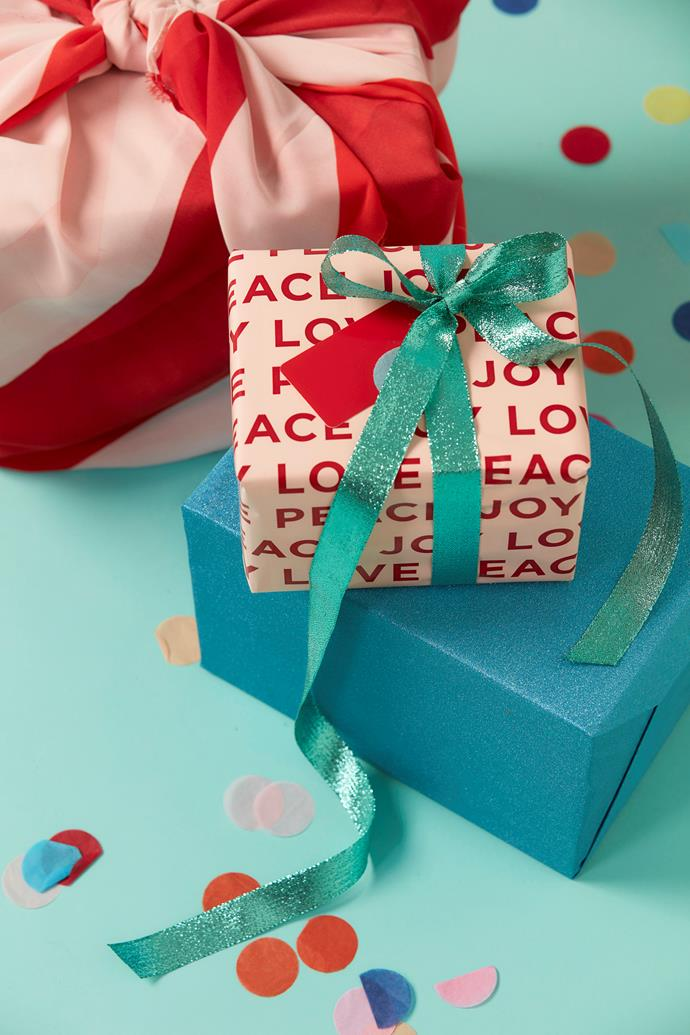 "Peace Love Joy wrapping paper in Nude, $16 for 10m,  [Inky Co.](https://www.inkyco.com.au/|target=""_blank""