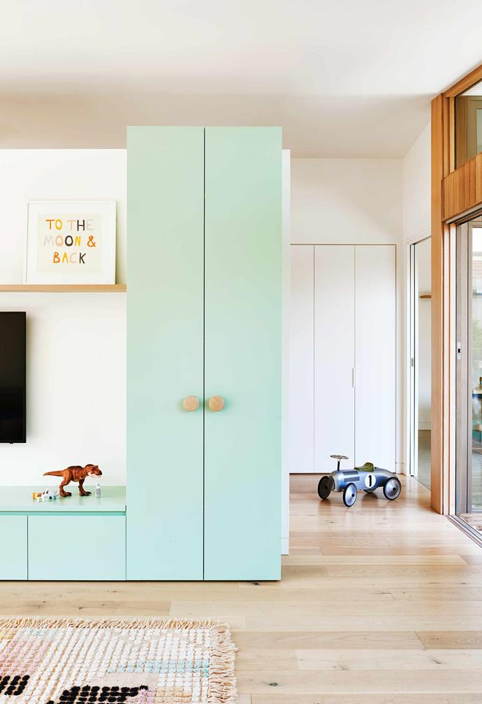"""**Playroom** """"We asked for lots of storage here, so we could tidy the kids' stuff away when we need to,"""" says Georgia. """"And the floorboards [from [Royal Oak Floors](https://royaloakfloors.com.au/