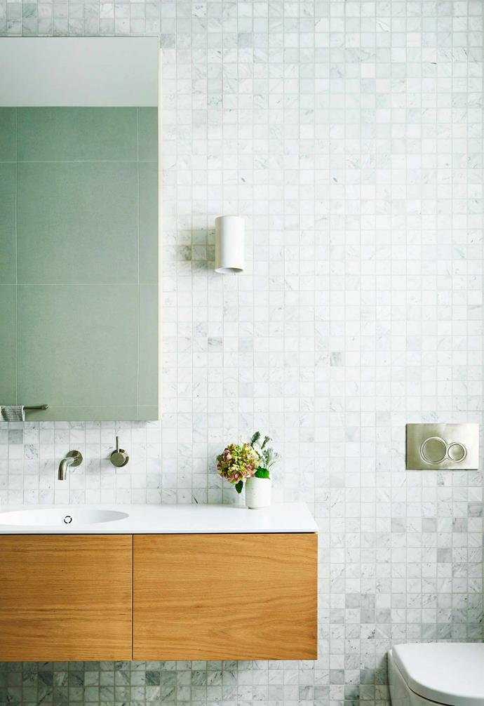 """**Ensuite** The wall tiles are Carrara marble 50mm x 50mm mosaics from [Geelong Tiles](http://www.geelongtilesandbathware.com/