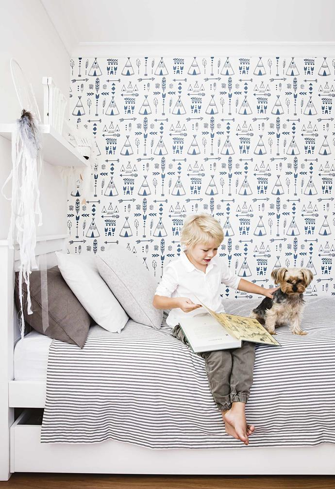 "I opted against a traditional [butler's pantry](https://www.homestolove.com.au/butlers-pantry-design-ideas-17450|target=""_blank"") – I wanted a comparable area where mess could be hidden, however I didn't like the impracticality of being in a separate room with small children out of sight.<br><br>**William's room** A floating shelf from [Mocka](https://www.mocka.com.au/