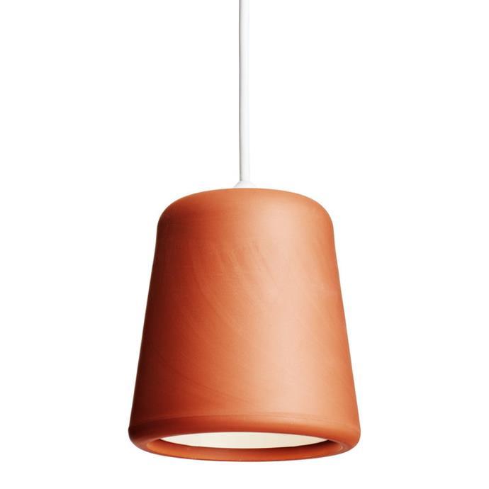 "New Works terracotta pendant, $138, [The Finnish Design Shop](https://www.finnishdesignshop.com/lighting-ceiling-lamps-pendant-lamps-material-pendant-terracotta-p-7194.html|target=""_blank""|rel=""nofollow"")"