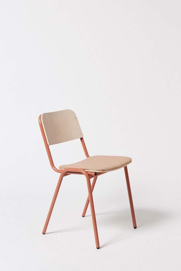 "Jake chair in Terracotta/Pink Check, $450, [Koskela](https://koskela.com.au/products/floor-stock-jake-chair-upholstered-430w-x-445d-x-780h-seat-450h-3?_pos=7&_sid=c471b88ea&_ss=r|target=""_blank""|rel=""nofollow"")"