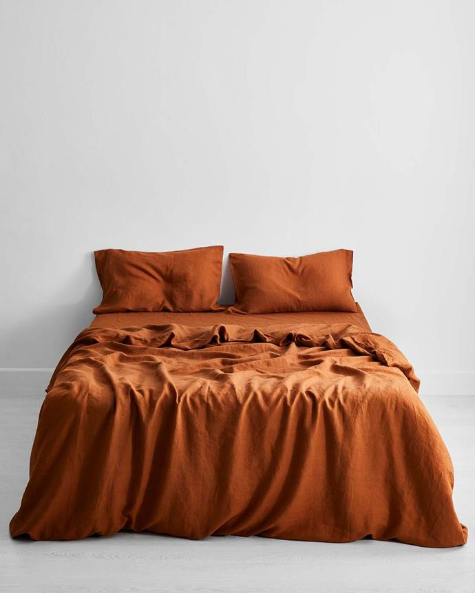 "100% flax linen bedding set in Rust, from $250, [Bed Threads](https://bedthreads.com.au/collections/bedding-sets/products/rust-100-flax-linen-bedding-set?variant=11267496738863|target=""_blank""
