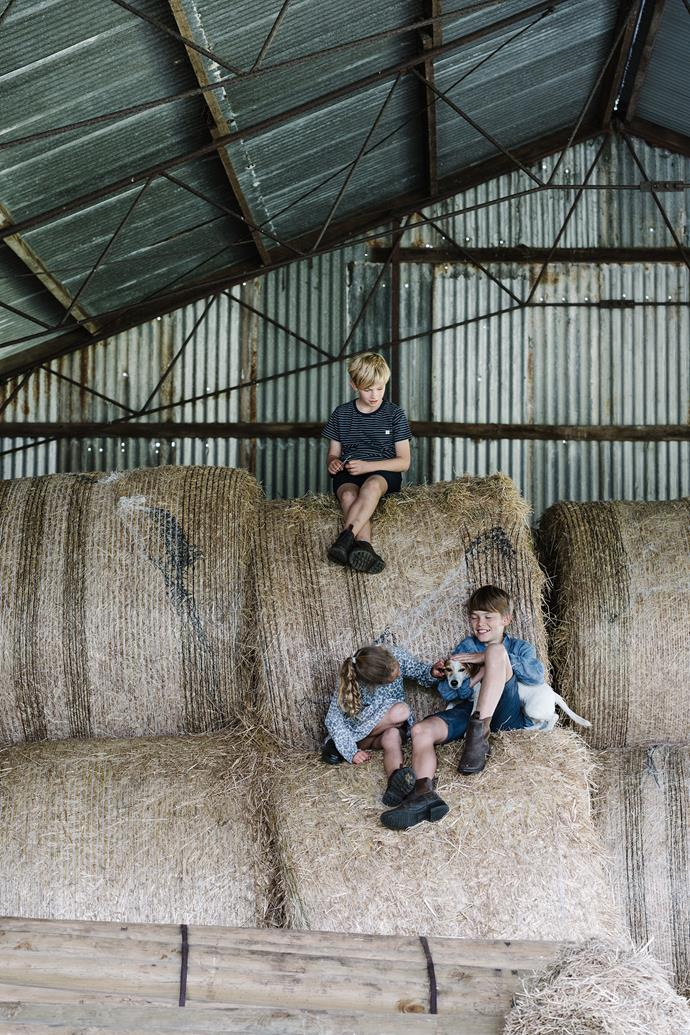 "The hay shed is the kids' (and Mozzie's) favourite playground. ""They're banned from here during summer because of the snakes!"" says Fliss."
