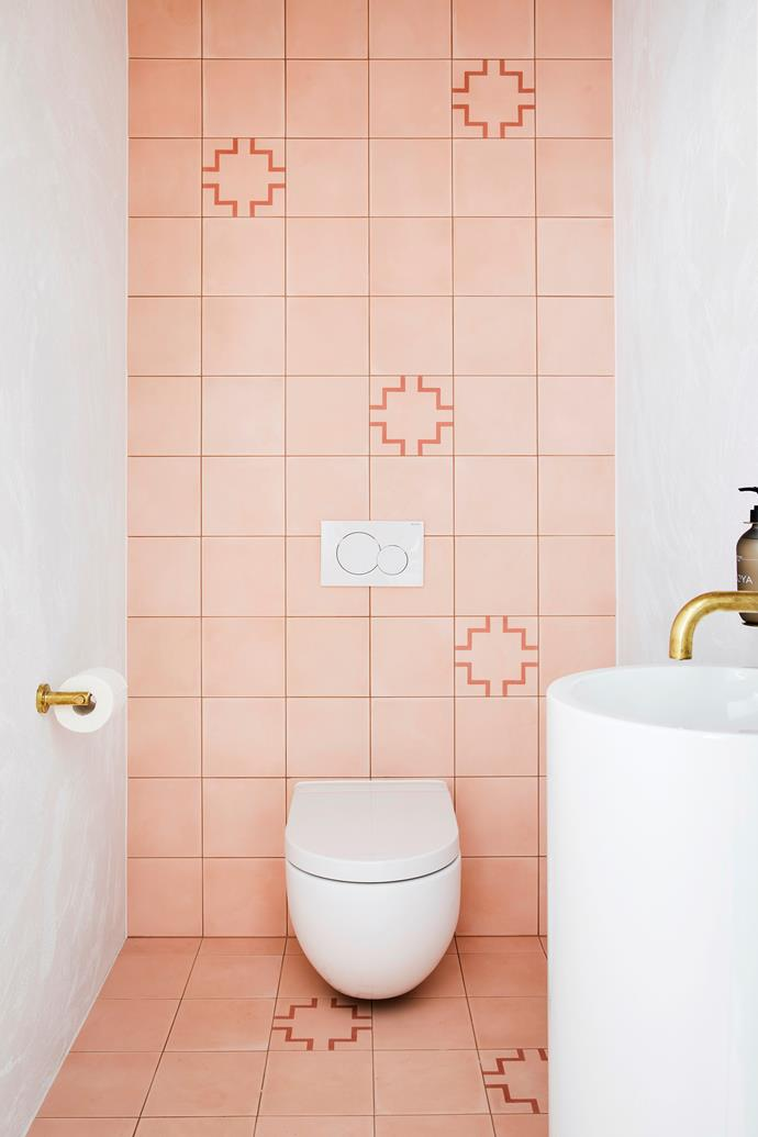 The couple introduced colour in the bathrooms via warm-toned Bondi Encaustic tiles from Tile Cloud.