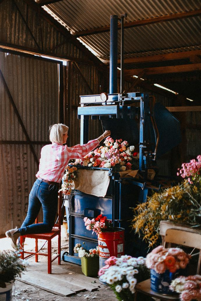 The former nurse transforms a now-idle wool press into a fabulous floral display.
