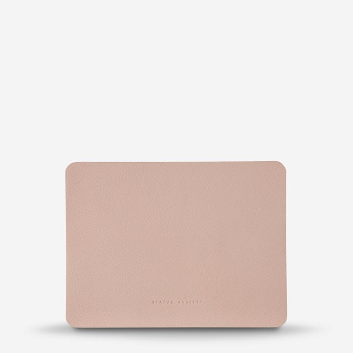 "Leather **mouse pad** in Dusty Pink, $39.95, [Status Anxiety](https://www.statusanxiety.com.au/products/of-sound-mind-dusty-pink|target=""_blank""