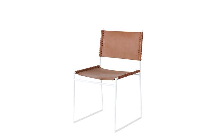 "Willy swing chair in Brown Leather/White, $540, [Reddie](https://reddie.com.au/|target=""_blank""