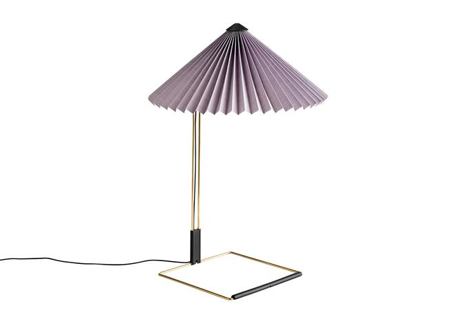 """Matin small table lamp with Lavender shade, $390, [Hay](https://hayshop.com.au/products/matin-small-table-lamp?_pos=12&_sid=0fd813073&_ss=r