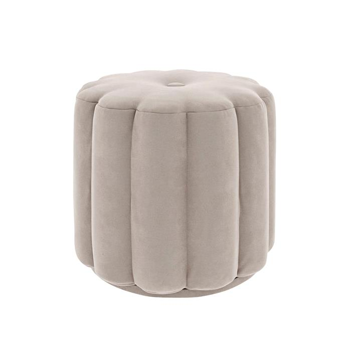 "Milly button ottoman in Grey, $449, [Circlehome](https://circlehome.com.au/collections/shop-ottomans/products/milly-button-ottoman-silver-grey|target=""_blank""