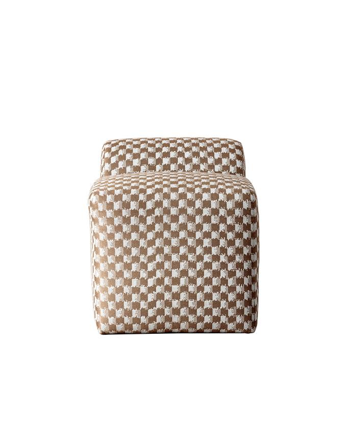 "Esfera ottoman in Abstract Checker Mushroom, about $3848*, [Kelly Wearstler](https://www.kellywearstler.com/|target=""_blank""
