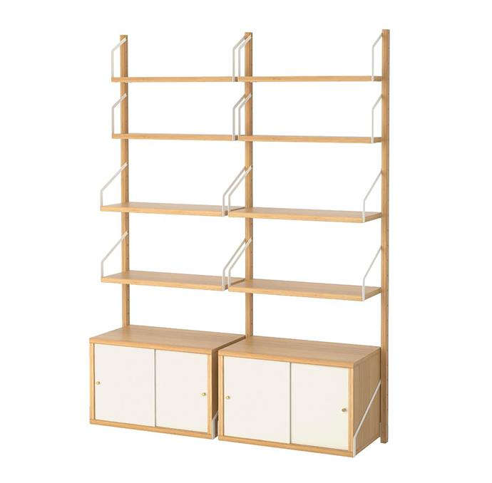 """SVALNÄS is a wall-mounted storage unit that is made from bamboo. It's distinct Scandi look is both simple and elegant. <br> SVALNÄS wall-mounted storage combination in bamboo and white, $445, available at [IKEA](https://www.ikea.com/au/en/catalog/products/S19184438/
