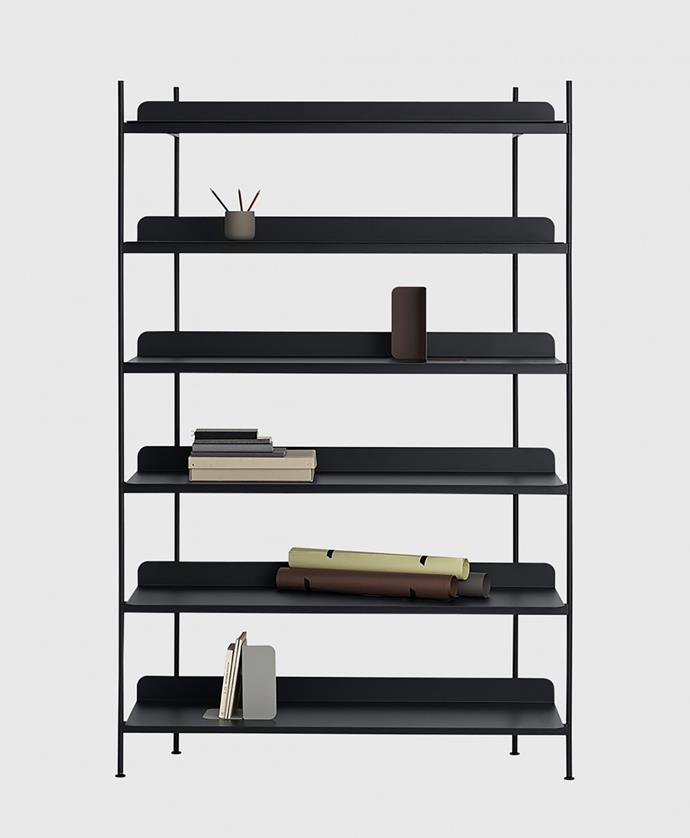 """A contemporary take on the classic shelving system, this black shelf by Cecile Manz boasts timeless design. <br> Compile shelving system config 4 in black, $2295, available at [Living Edge](https://livingedge.com.au/products/compile-shelving-system-config-4-black/