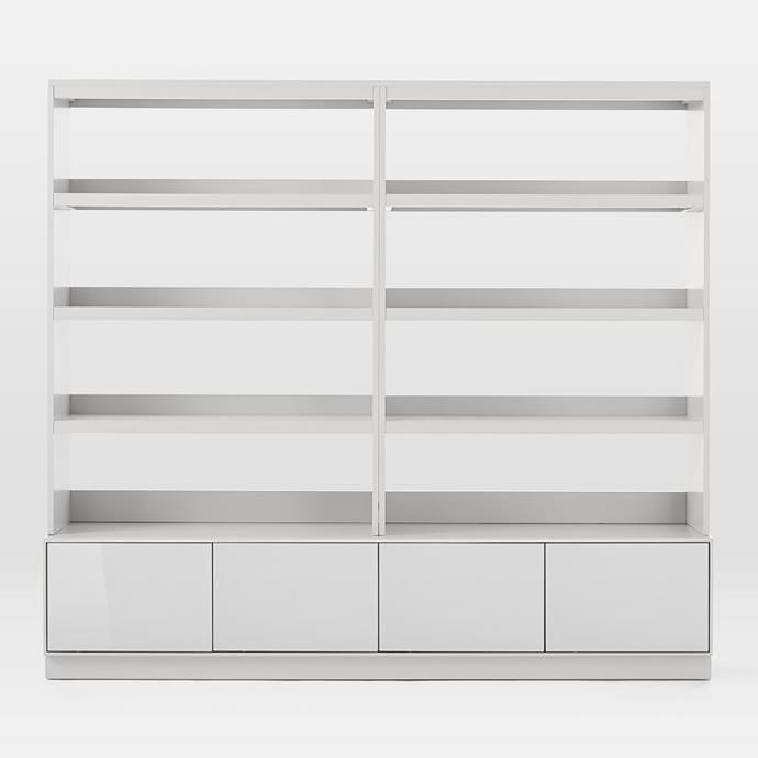 """Though simple, the Emilia Media Collection bookshelf's clean-lined shape means it will suit the majority of home styles.  <br> Emilia media set (console + 2 hutches), $2399, available at [West Elm](http://www.westelm.com.au/emilia-media-set-console-80-2-hutches-h4362/