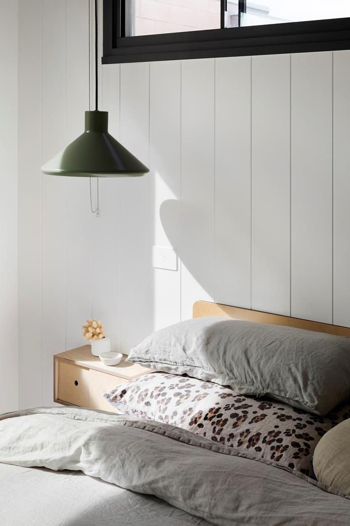 "Plywood furniture from Plyroom is simple and elegant for the master bedroom. The Dr Spinner pendant light is from [Dowel Jones](https://doweljones.com/|target=""_blank""
