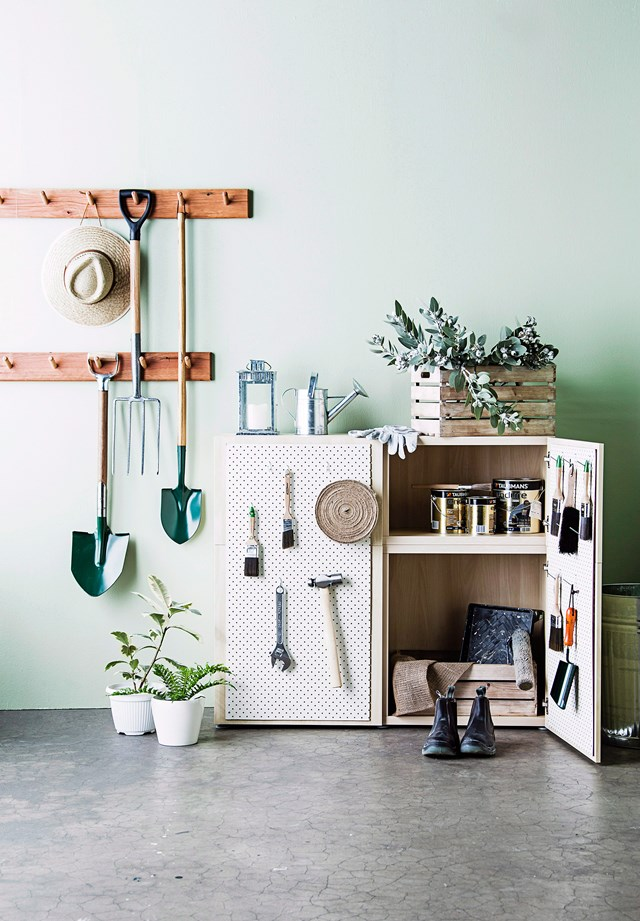 "[Get your garage organised](https://www.homestolove.com.au/how-to-organise-your-garage-3328|target=""_blank"") with simple storage solutions, like shelving and pegboard, that will enable you to use the space to its full potential."