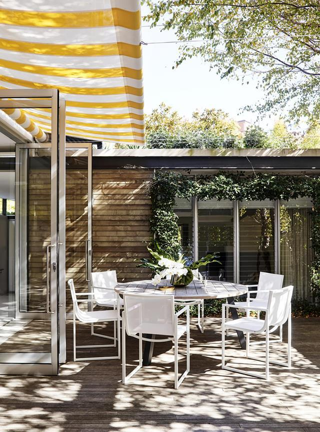 "Skye Leckie's [fashionable home](https://www.homestolove.com.au/inside-the-colourful-home-of-skye-leckie-20191|target=""_blank"") acts as a sanctuary that links indoors and outside spaces. The internal courtyard is shaded by trees and a vibrant awning."