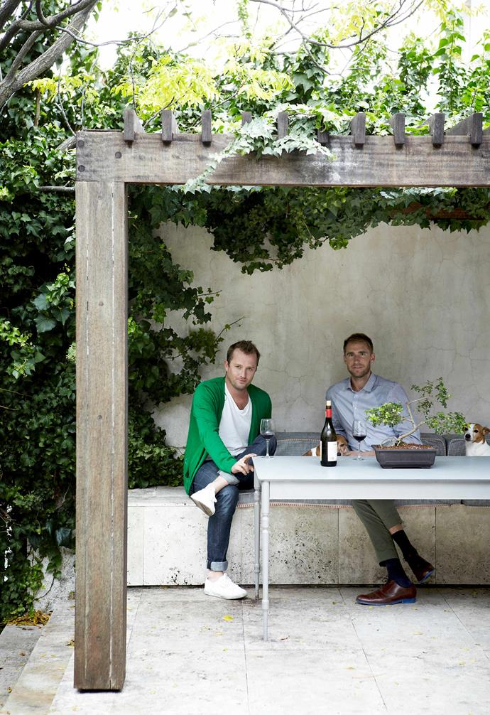 **Pergola** Cameron and Justin in their most protected outdoor space.
