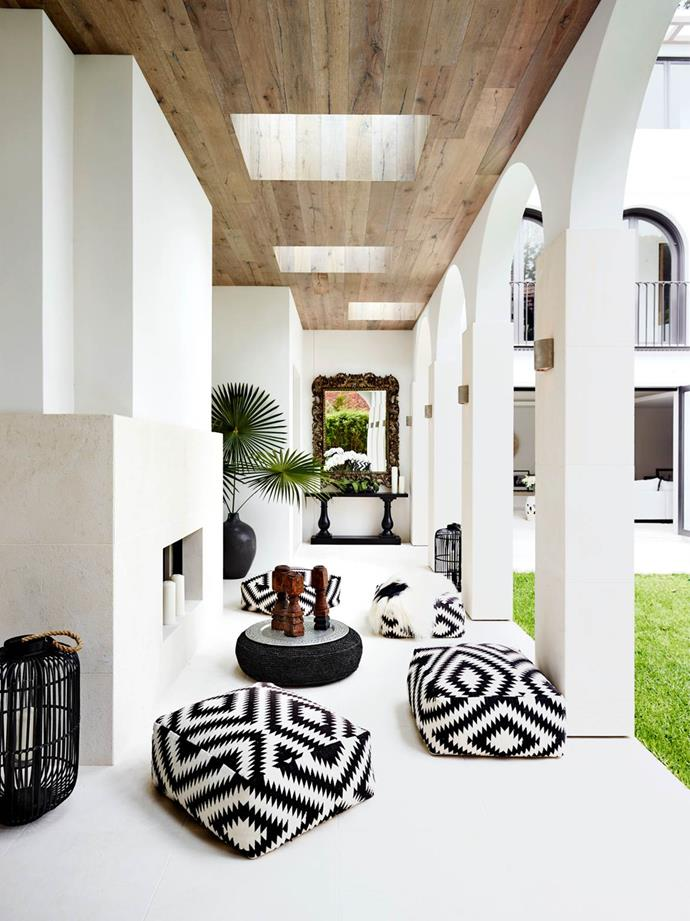 """This four-level home overlooking Sydney Harbour is infused with the personality of the owner, Lisa Rothner, and her """"barefoot bohemian"""" lifestyle. The Marrakesh-style portico conjures up the magic of exotic places."""