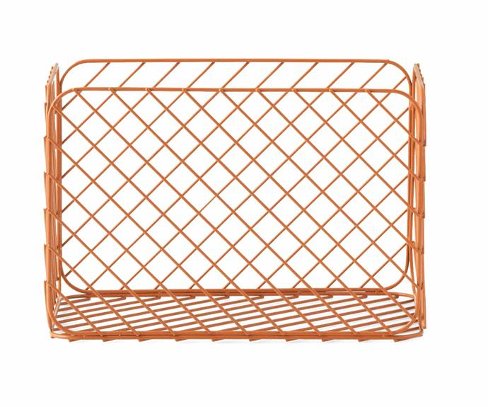 "Normann Copenhagen 'Track' basket in Rust, $95, [District](https://district.com.au/|target=""_blank""