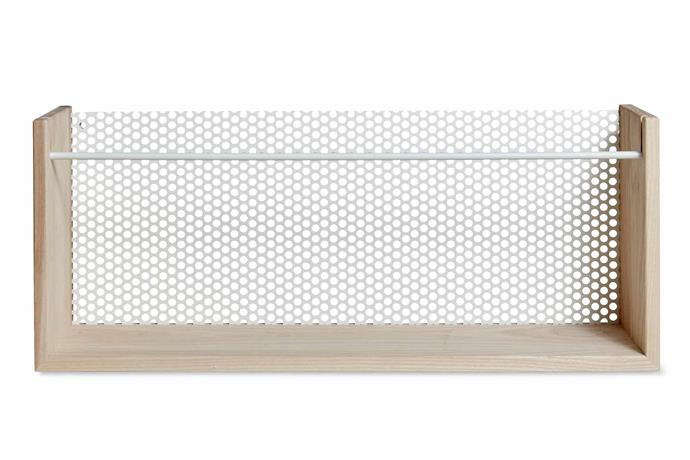 "Oyoy 'Moku' perforated-back shelf in White, $265, [Leo & Bella](https://leoandbella.com.au/|target=""_blank""