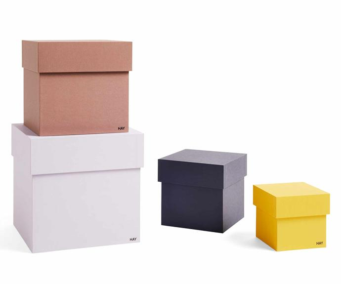 "Box Box storage boxes, $90 for assorted set of four, [Hay](https://hayshop.com.au/|target=""_blank""