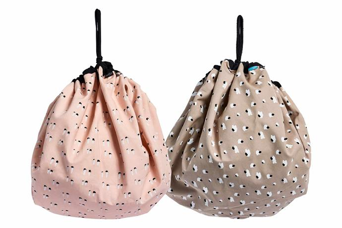 "Oyoy play sacks in Rose and Beige, $96, [Leo & Bella](https://leoandbella.com.au/|target=""_blank""
