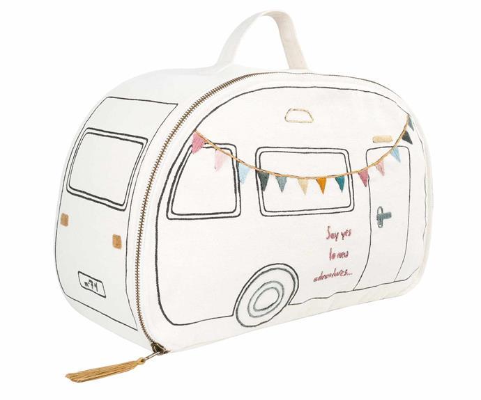 "Numero 74 'Caravan' suitcase in Natural, $193, [Nomades Homewares](https://www.nomadeshome.com/|target=""_blank""|rel=""nofollow"")."