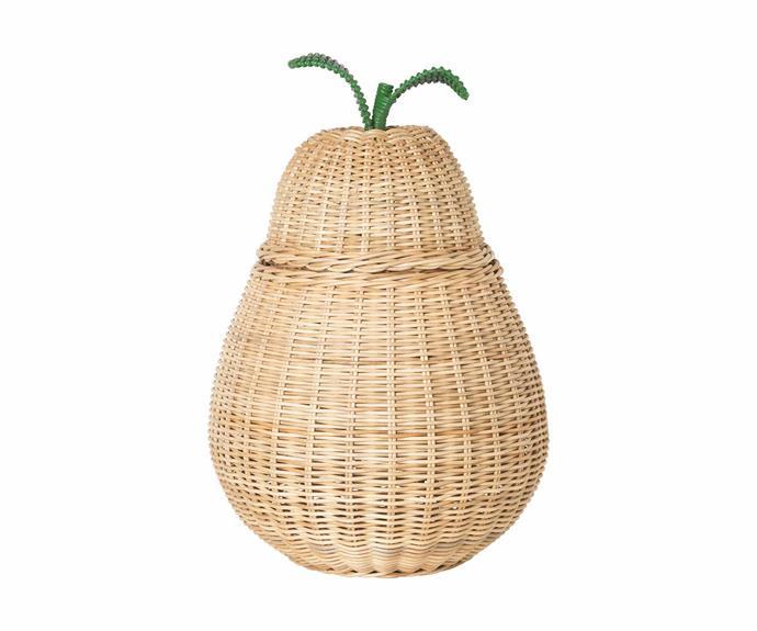 "Ferm Living 'Pear' braided storage basket, $149, [Arrival Hall](https://arrivalhall.com.au/|target=""_blank""|rel=""nofollow"")."