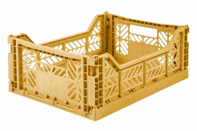"Ay-Kasa midi storage crate in Gold, $34.95, [Jack & Willow](https://www.jackandwillow.com.au/|target=""_blank""|rel=""nofollow"")."