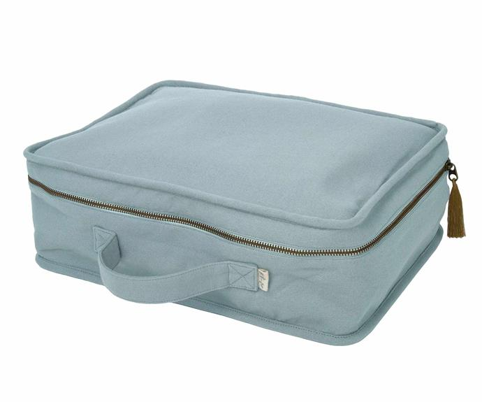 """Numero 74 suitcase in Sweet Blue, $84.95, [Nomades Homewares](https://www.nomadeshome.com/