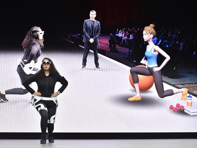 Meanwhile Samsung has you working out with virtual trainer, who you can converse with like you would a real-life human PT with help from a VR headset and wearable robotics (how it's going to be comfortable sweating it out with this amount of plastic on your body remains to be seen).