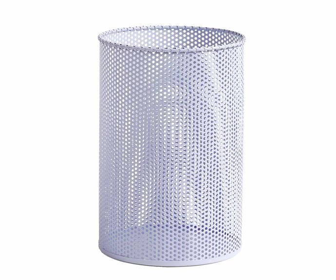 "Perforated bin in Lavender, $70, [Hay](https://hayshop.com.au/|target=""_blank""|rel=""nofollow"")."